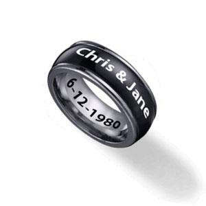 Custom Black Stainless Steel 8mm Spinner Ring for Men