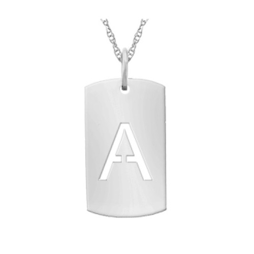 Small Dog Tag Initial Necklace For Women, White Gold
