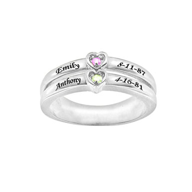 Custom Engraved Cubic Zirconia Double Heart Ring in Sterling Silver