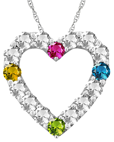 Custom Gemstone Heart Necklace in White Gold