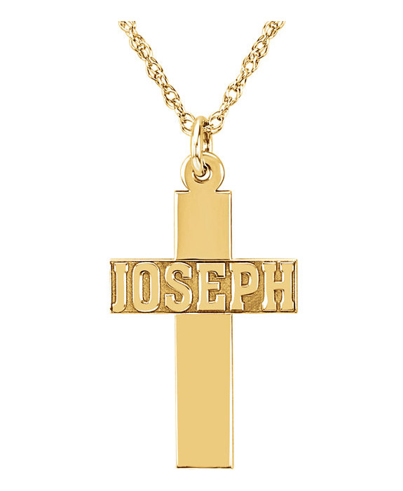 14K Solid Gold Nameplate Cross Necklace