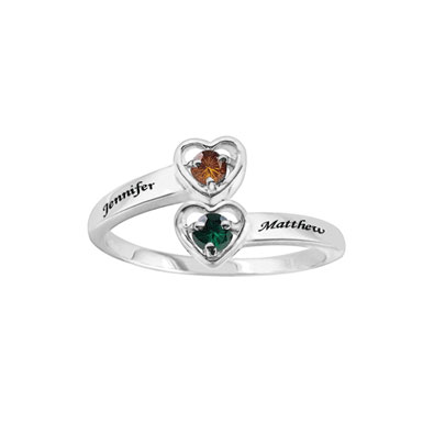 Custom Heart Promise Ring in Sterling Silver with CZ