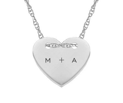 Small Custom Initial Heart Necklace, 14K White Gold