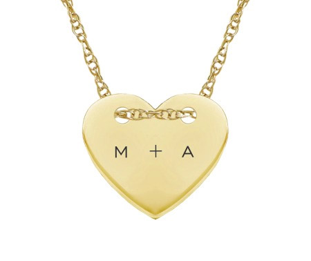 Custom Small Initial Heart Necklace, 14K Yellow Gold