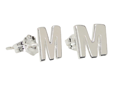 Custom Initial Stud Earrings in Sterling Silver