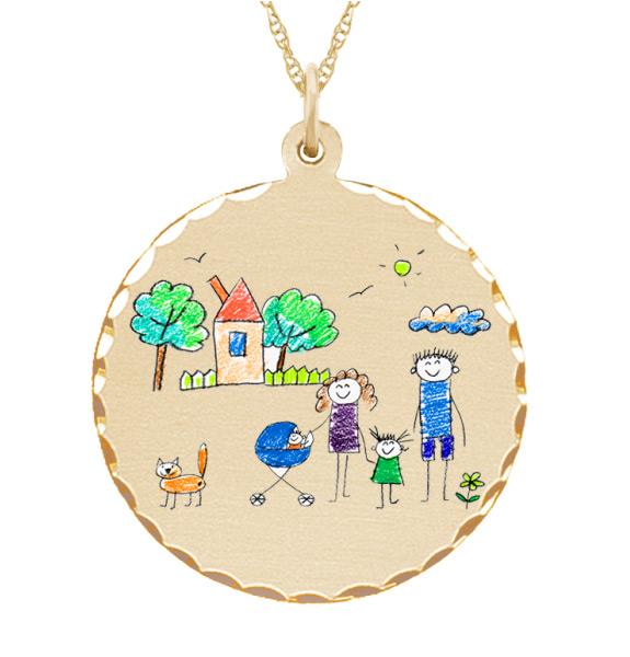 Kid's Custom Art Gold Necklace