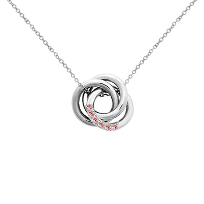 Custom Love Knot Pendant Necklace with CZ Stones in Sterling Silver