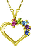 Custom Marquise Gemstone Heart Necklace in 14K Yellow Gold