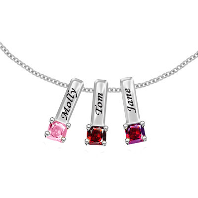 Custom Mother's Necklace with 3 Birthstone Pendants in Sterling Silver