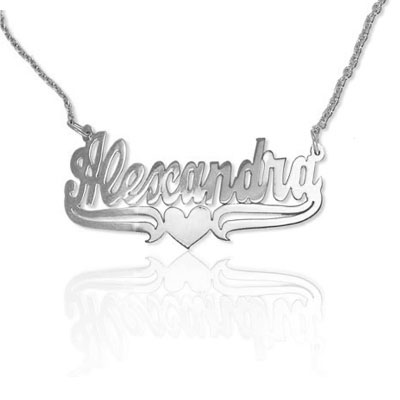 Personalized Name Jewelry Necklace with Heart in White Gold
