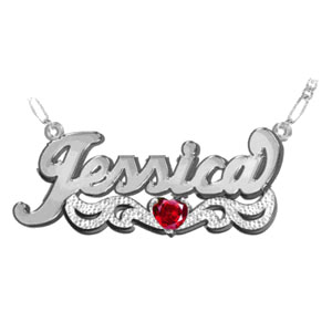 Custom Name Necklace with Heart-Shaped Birthstone, Sterling Silver