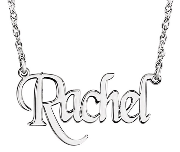 Personalized Name Necklace with Unique Block Font in White Gold