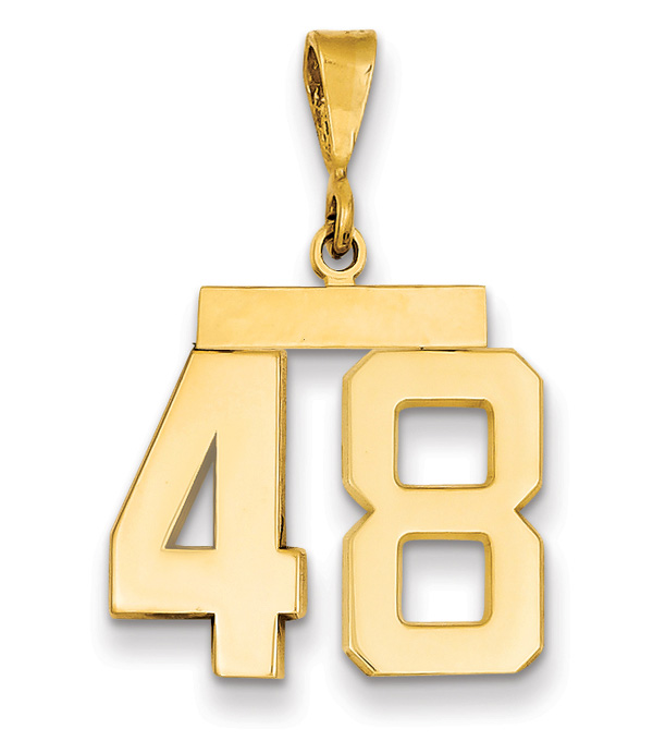 Custom Number Pendant, 14K Gold (Sports)