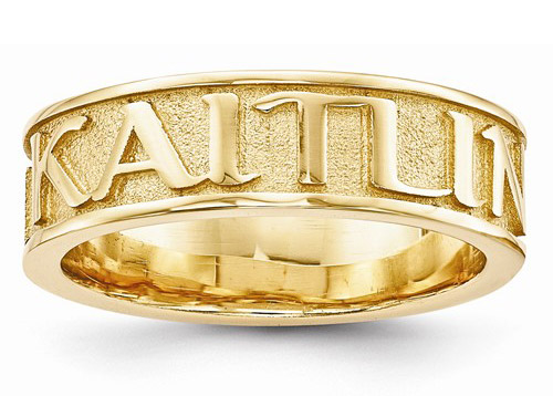 Textured Custom Name Band Ring in 14K Yellow Gold