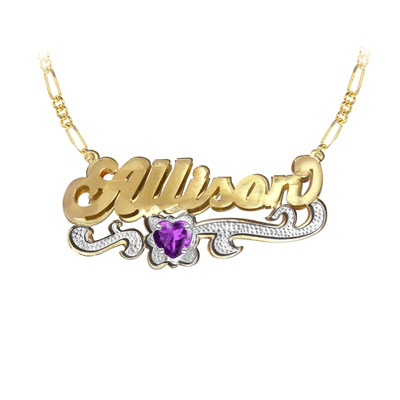 Yellow Gold Customized Name Necklace with Heart Birthstone