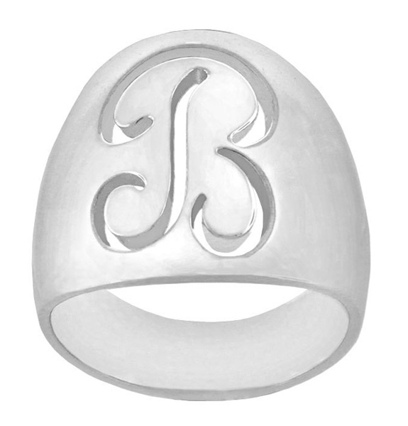 Custom Initial Oval Signet Ring in Sterling Silver
