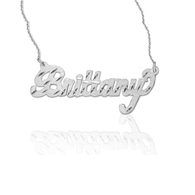 Diamond-Cut Name Jewelry Pendant Necklace in White Gold