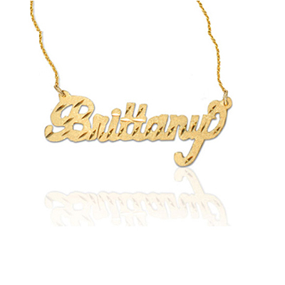 Diamond cut yellow gold personalized name jewelry necklace aloadofball Image collections