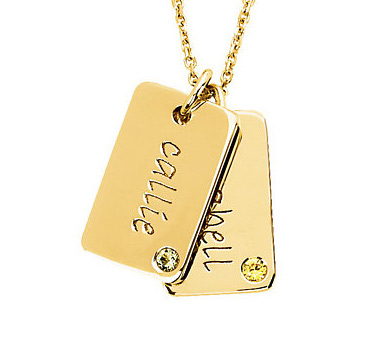 Posh mommy engravable mini dog tag pendant in 14k yellow gold dog tag posh mommy aloadofball Choice Image