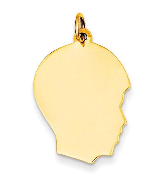 Engravable 14K Gold Boy Head Charm Pendant