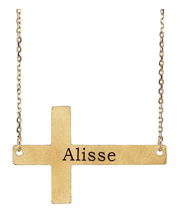 Engravable Sideways Cross Necklace in 14K Gold