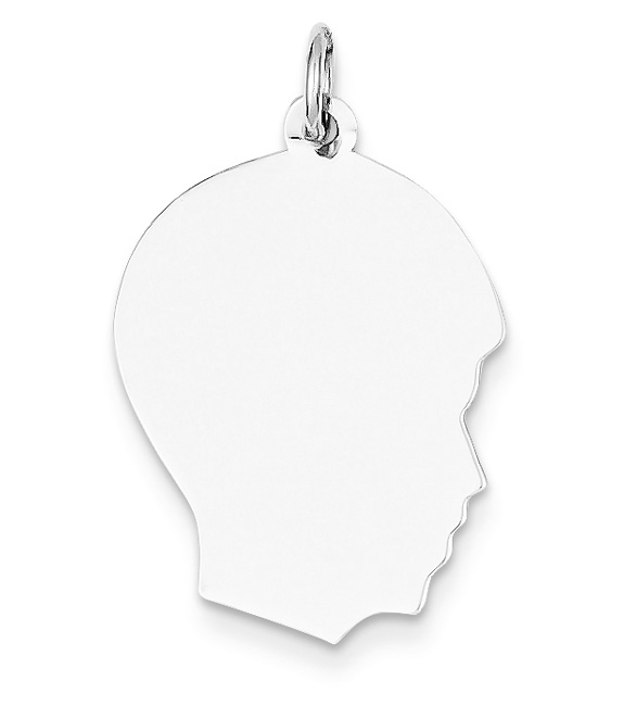 Engravable 14K White Gold Boy Head Charm Pendant