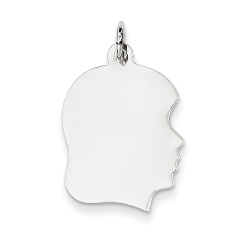 Engravable 14K White Gold Girl Head Charm Pendant