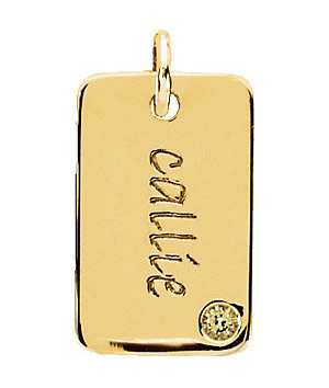 Posh Mommy Engravable Mini Dog Tag Pendant in 14K Yellow Gold