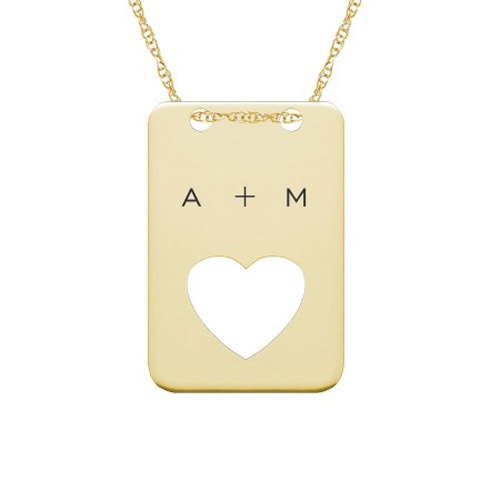 Engravable Dog Tag Heart Necklace in Gold