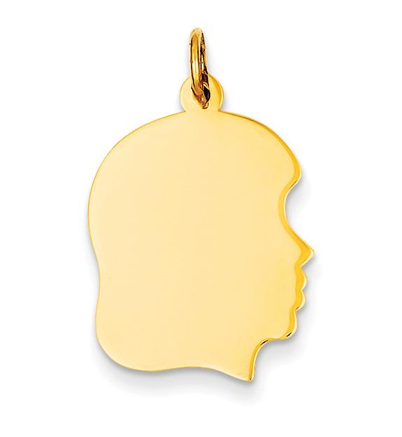 Engravable Girl Head Charm Pendant in 14K Gold