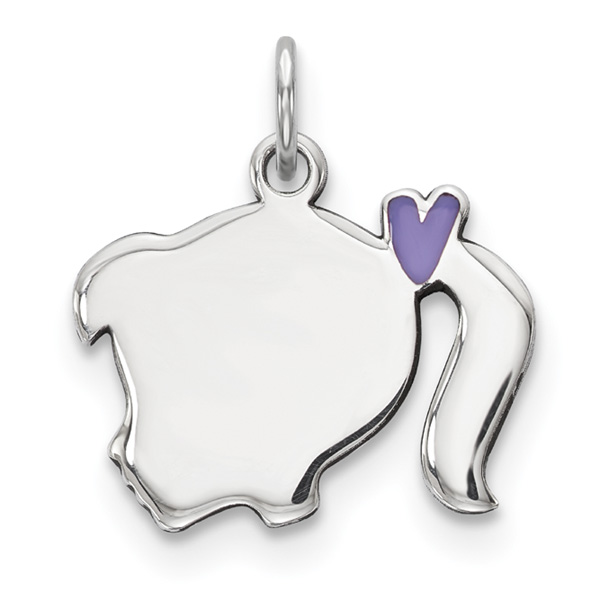 Engravable Purple Enamel Silver Girl Pendant