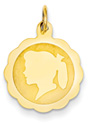 Engravable Scalloped Girl Head Disc Pendant in 14K Gold