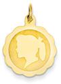 Engravable Scalloped Girl Head Disc Pendant in 14K Gold