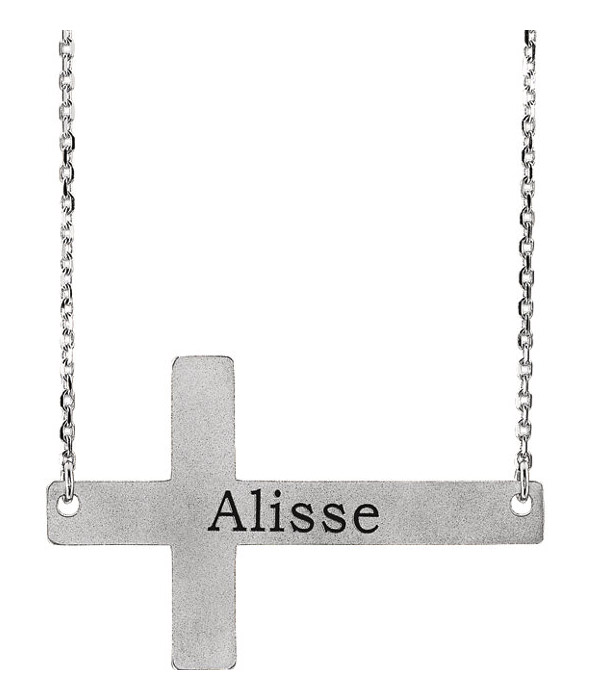 Engravable 14K White Gold Sideways Cross Necklace