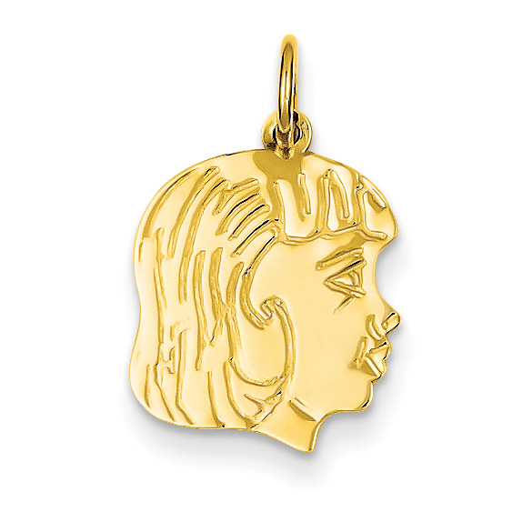 Engraved 14K Gold Girl Face Pendant, Mother's Jewelry
