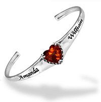 Engraved Birthstone Heart Cuff Bracelet with CZ in Sterling Silver