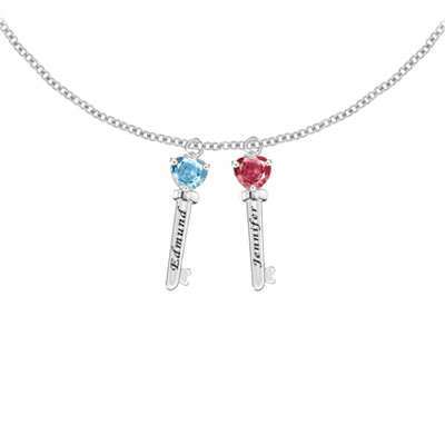 Engraved Family Key Pendant Necklace with 2 CZ Gemstones in Sterling Silver