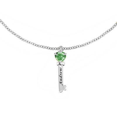 Engraved Key Pendant Necklace with CZ Gemstone in Sterling Silver