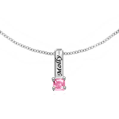 Engraved Mother's Necklace with 1 Birthstone Charm in Sterling Silver
