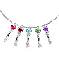 Family Key Charm Necklace with 5 CZ Stones in Sterling Silver