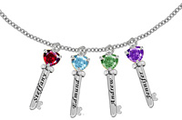 Family Key Pendant Necklace with 4 CZ Stones in Sterling Silver
