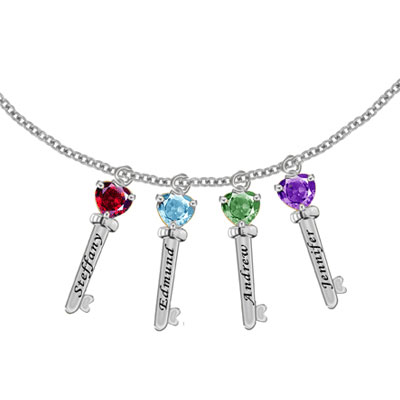 Family Key Pendant Necklace with 4 Cubic Zirconium Stones in Sterling Silver