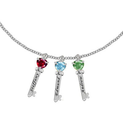 Sterling Silver Family Key Charm Necklace with 3 CZ Stones in Sterling Silver