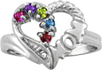 Mom Heart Personalized Family Ring in White Gold