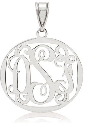 Filigree Monogram Medallion Pendant, 14K White Gold