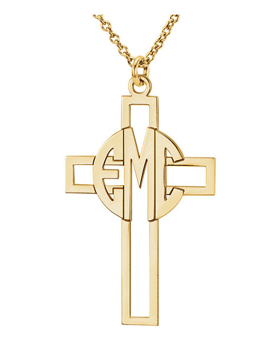 Gold Block Monogram Cross Necklace