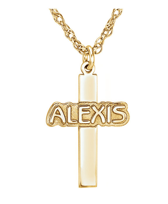 Gold Custom Name Cross Necklace for Women