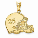 Gold Football Helmet Pendant with Name and Number