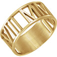 Gold Personalized Roman Numeral Date Wedding Band Ring