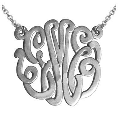 Handmade Script White Gold Custom Monogram Necklace, 1 Inch
